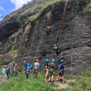 School group introduction to climbing